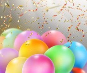 Colorful balloons with confetti background illustration 06