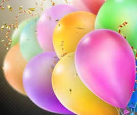 Colorful balloons with confetti background illustration 07