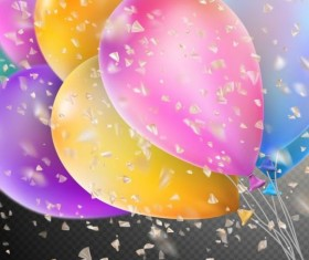 Colorful balloons with confetti background illustration 09