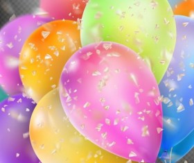 Colorful balloons with confetti background illustration 10