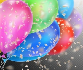 Colorful balloons with confetti background illustration 11