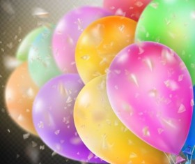 Colorful balloons with confetti background illustration 14