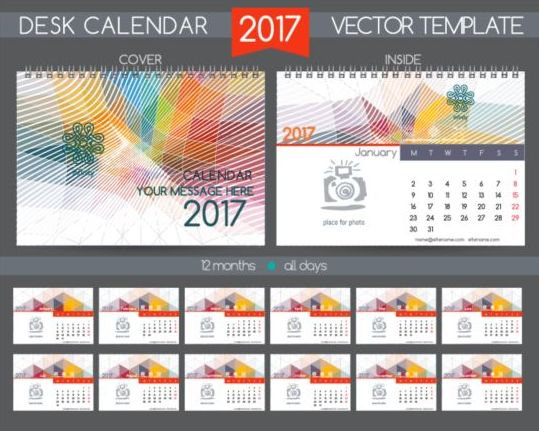 Company 2017 desk calendar design vector template 04
