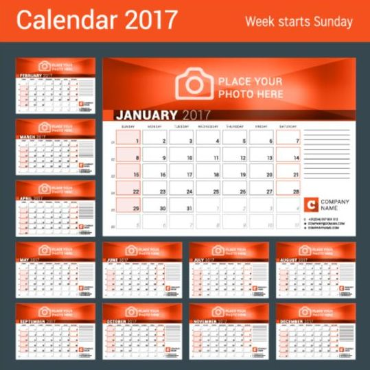 Calendar Design With Photos Free : Company desk calendar design vector template