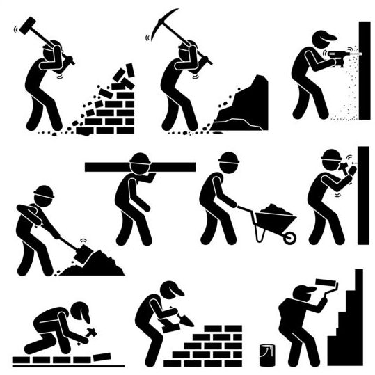 Construction worker icons set