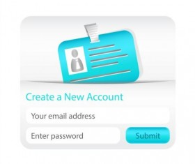 Create new account interface vector