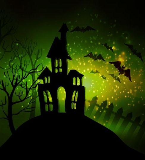 Creative halloween haunted house design vector 10