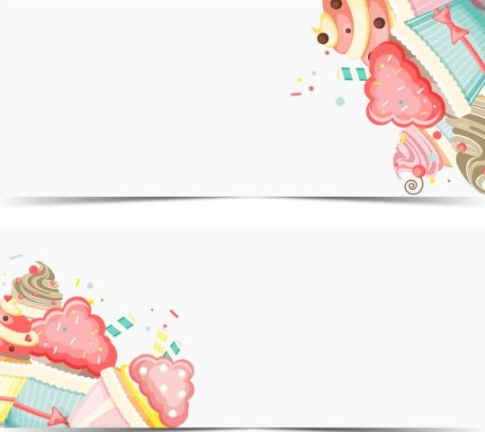 cupcake with happy birthday banner vector 01 free download