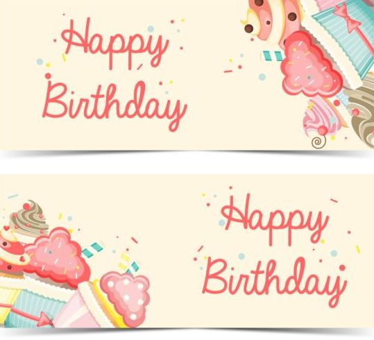 Cupcake With Happy Birthday Banner Vector 02