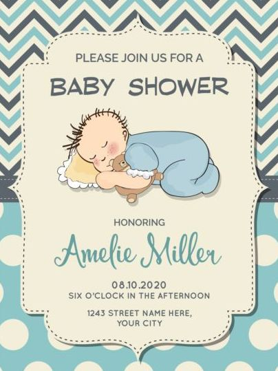 Cute Baby Shower Card With Seamless Pattern Vector 08 Free Download