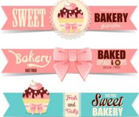 Cute bakery banners vector