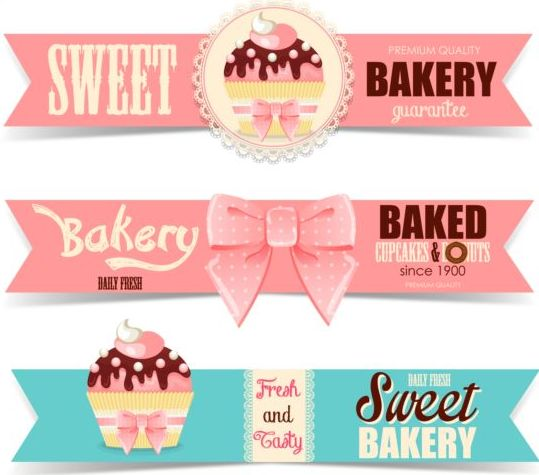 cute bakery banners vector free download