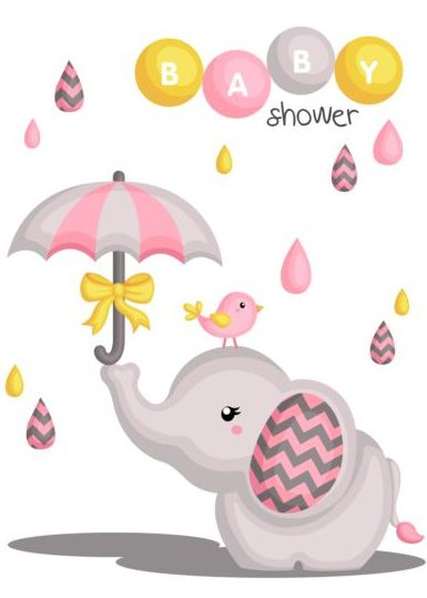 Giraffe in a baby shower card vector | free download.
