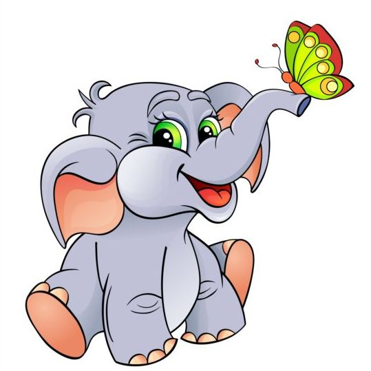 Cute elephant with butterfly vector free download