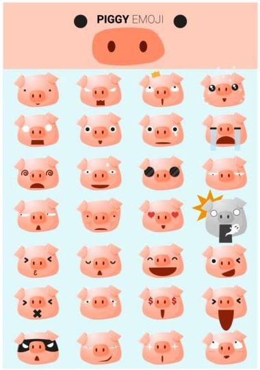 Cute plggy emoji icons