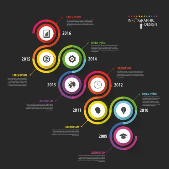 Dark infographic with colored button vector 01