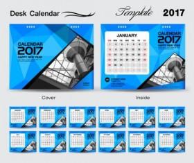 Desk calendar 2017 geometric blue vector template