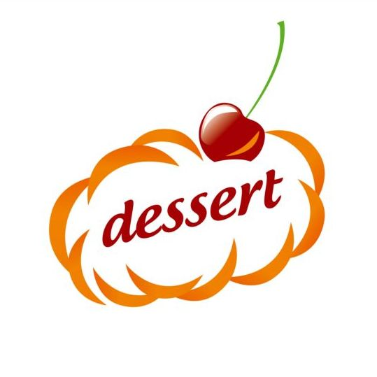 dessert clouds and cherry vector logo vector food