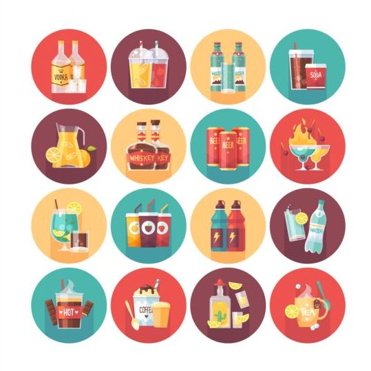 Drinks with wine long shadow icons set 02
