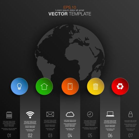 Earth with black infographic template vector 02