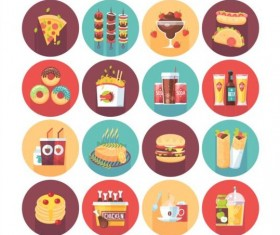Fast food long shadow icons set 01