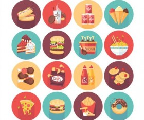 Fast food long shadow icons set 02