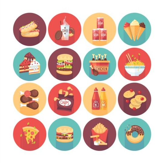 Fast Food Long Shadow Icons Set 02 Free Download