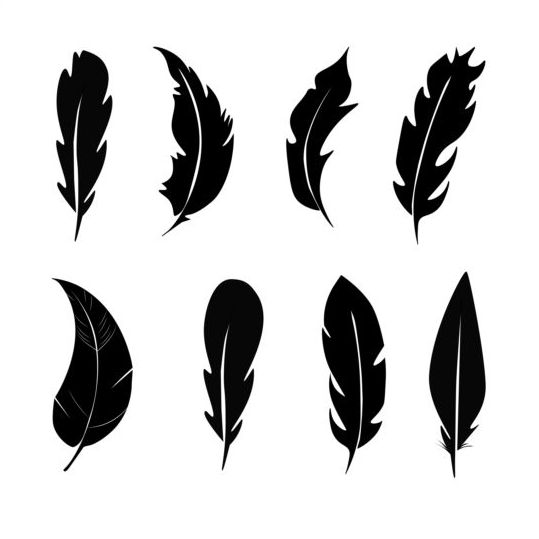 Feather silhouetter vectors set 01 - Vector Silhouettes free download