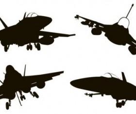 Fighter silhouetter vector set 02