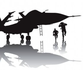Fighter with aviation silhouetter vector