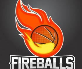 Flame with basketball logos vector