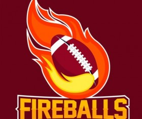 Flame with football logos vector