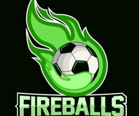 Flame with soccer logos vector