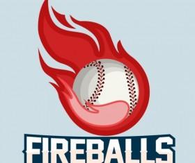 Flame with softball logos vector