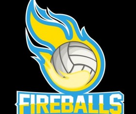 Flame with volleyball logos vector