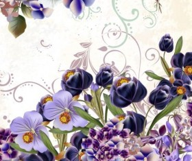 Floral background with purple flowers vector