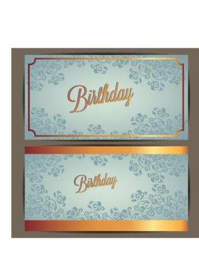 Floral Birthday Invitation Card Vector Set 04 Free Download