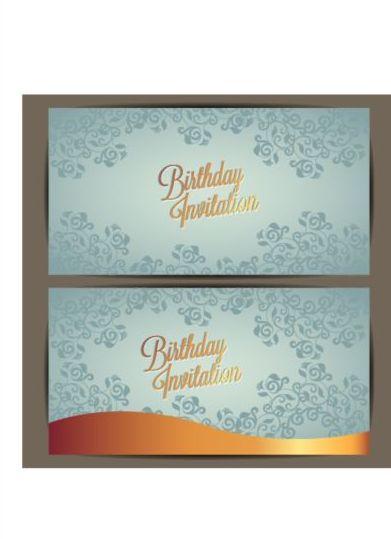 Floral Birthday Invitation Card Vector Set 05 Free Download