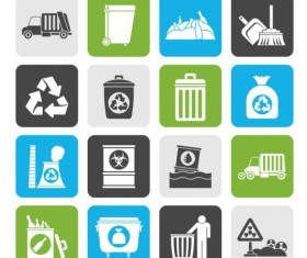 Garbage collection icons set