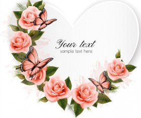 Getting card with beautiful pink flowers and butterflies vector