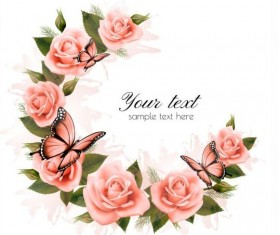 Getting card with beautiful pink flowers vector