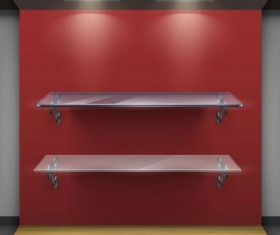 Glass shelves display red background vector