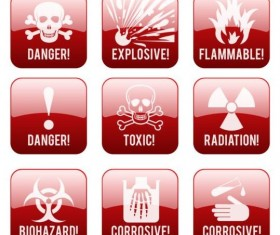 Glass textured danger icons red vector