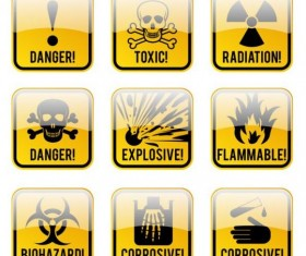Glass textured danger icons yellow vector