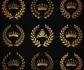 Golden crown with luxury laurel vector