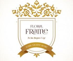 Golden floral decor with vintage frame vector 06