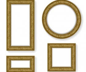Golden photo frame luxury vector 01