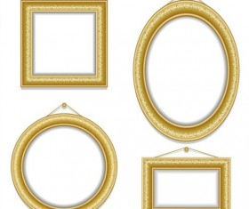 Golden photo frame luxury vector 02