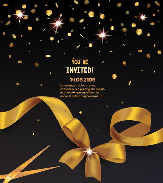 Golden ribbon with black invitation card vector free download golden ribbon with black invitation card vector stopboris Gallery