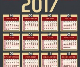 Gray with red styles 2017 calendar vector